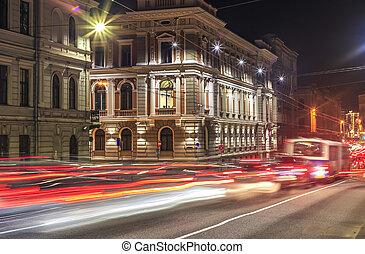 nuit, trafic