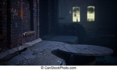 nuit, usine, abandonnés, effrayant