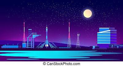 nuit, vecteur, base, fusée, spaceport