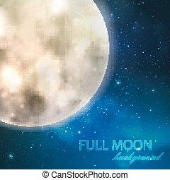 nuit, vecteur, lune, étoilé, fond, ciel, illustration, entiers