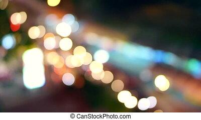 nuit, ville, barbouillage, fond, trafic