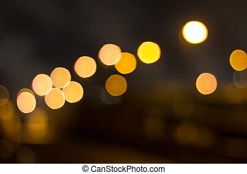 nuit, ville, bokeh, fond