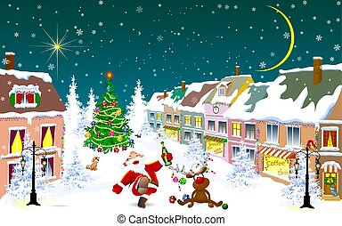 nuit, ville, cerf, claus, winter., noël, santa