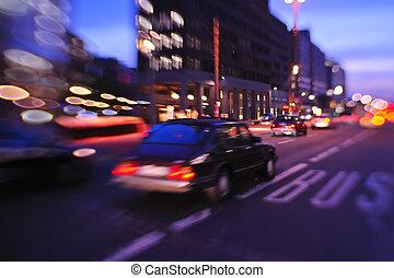 nuit, ville, mouvement, occupé, voitures, lumière, brouillé, rue