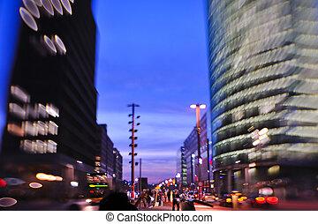 nuit, ville, mouvement, voitures, brouillé