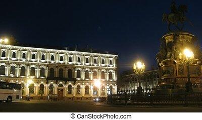 nuit, ville, revue, sankt-petersburg, russia.