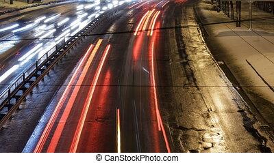 nuit, ville, voiture, traffic.