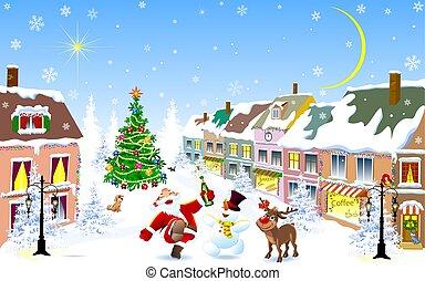nuit, ville, winter., cerf, noël, santa, bonhomme de neige, gai