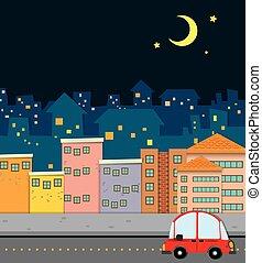 nuit, voisinage, scène