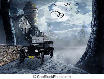 nuit, voiture, vendange, brumeux, éclairé par la lune