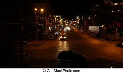 nuit, voitures, défaillance, temps, -, piétons