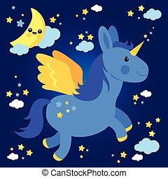 nuit, voler, ciel, licorne