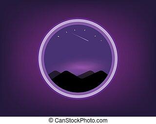 nuit, vu, paysage, fond