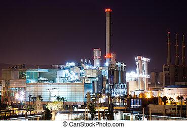 nuit, vue, de, industrie, centrale électrique