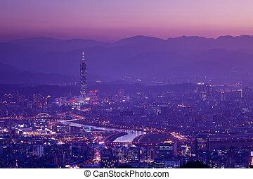 nuit, vue, de, les, taipei, ville, taiw
