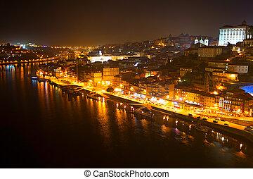 nuit, vue, de, porto, portugal