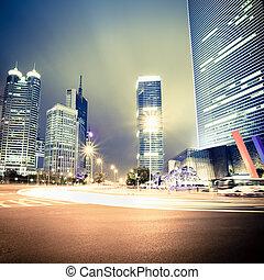 nuit, vue, shanghai, avenue, siècle