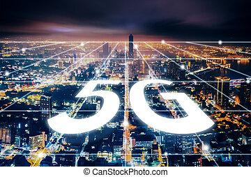 nuit, vue, ville, aérien, réseau, 5g, technologie, concepts