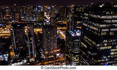 nuit, vue, ville, bâtiment, aérien, temps, ou