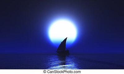 nuit, yacht, 3d, océan