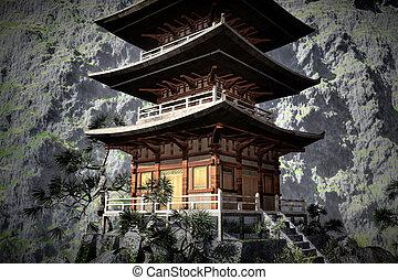nuit, zen, temple, bouddhiste, brumeux