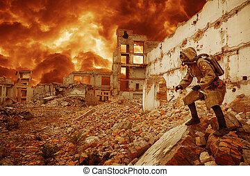 nukleáris, apokalipszis, túlélő