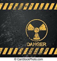 nukleáris, veszély, figyelmeztetés