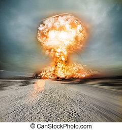nukleär, nymodig, explosion