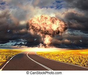 nukleär, utomhus, explosion, inställning