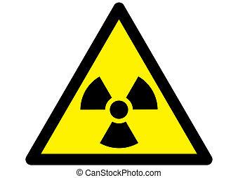 nukleär, varning, utstrålning