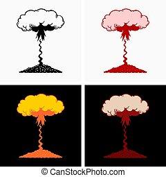 nuklear, atmosphärisch, explosion, hohe höhe
