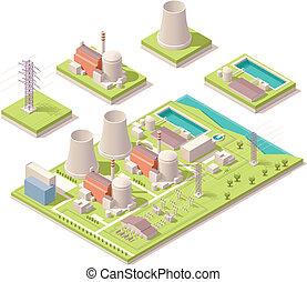 nuklear, isometrisch, macht, einrichtung