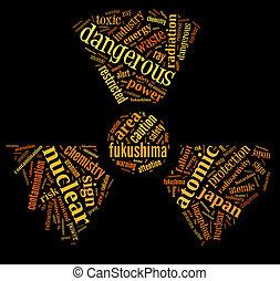 nuklear, verunreinigung, warnzeichen, wort, wolke, auf, fukushima, mit, orange, wordings, auf, schwarzer hintergrund