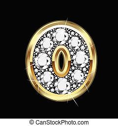 nul, getal, goud, en, diamant, bling