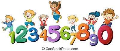 nul, glade, børn, antal, æn