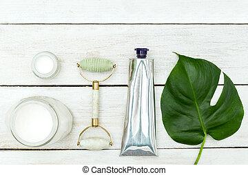 nul, waste., schoonheid producten, op, houten, achtergrond