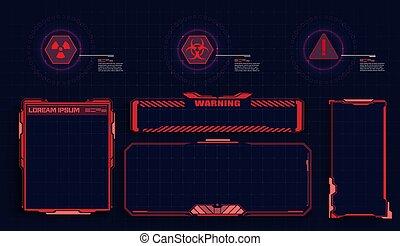 numérique, écran, panel., contrôle, fenêtre., moderne, élevé, design., sci-fi, futuriste, éléments, technologie, utilisateur, rouges, interface, hud, éléments, concept, hologramme