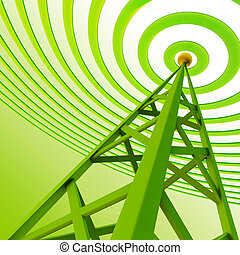 numérique, émetteur, sends, signaux, depuis, élevé, tour
