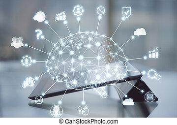 numérique, ai, tablette, hologram.