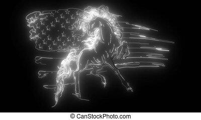 numérique, américain, cheval, néon, vidéo, drapeau
