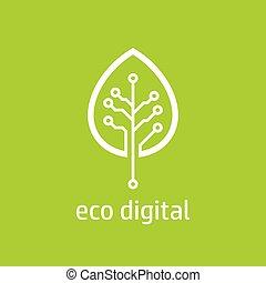 numérique, arbre, icône, style, feuille