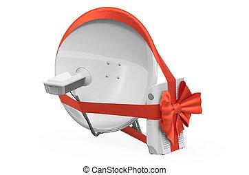 numérique, arc, 3d, cadeau, plat, récepteur, ruban, rendre, concept., satellite