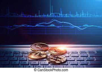 numérique, argent, concept