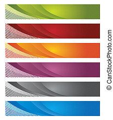 numérique, bannières, dans, gradient, &, lignes