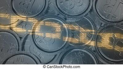 numérique, bitcoins, sécurité, chaîne, contre, tas, argent