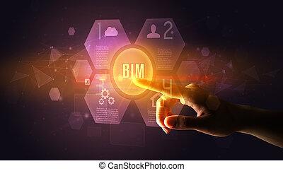 numérique, bouton, main, toucher