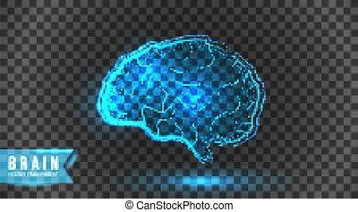 numérique, cerveau, transparent, tech., fond, isolé, technologie