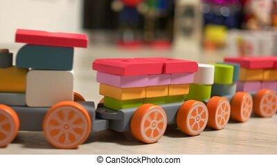 numérique, coloré, toy., géométrique, figure, train bois