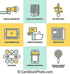numérique, commercialisation, et, publicité, plat, icônes