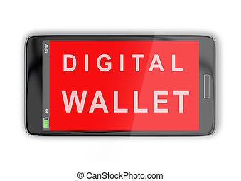 numérique, concept, portefeuille